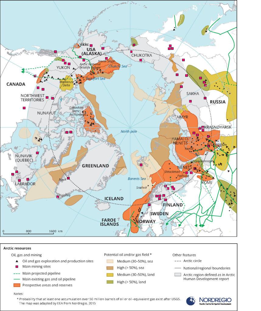 Χάρτης της Ευρωπαϊκής Υπηρεσίας Περιβάλλοντος για τις εξορύξεις πετρελαίου, φυσικού αερίου και μετάλλων στην Αρκτική