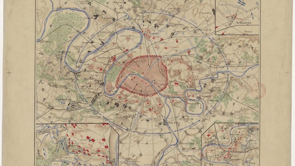 Χάρτης στρατιωτικός του Παρισιού που απεικονίζει τις θέσεις των στρατευμάτων (Γερμανικών) από 17/9/1870 ως 28/1/1871