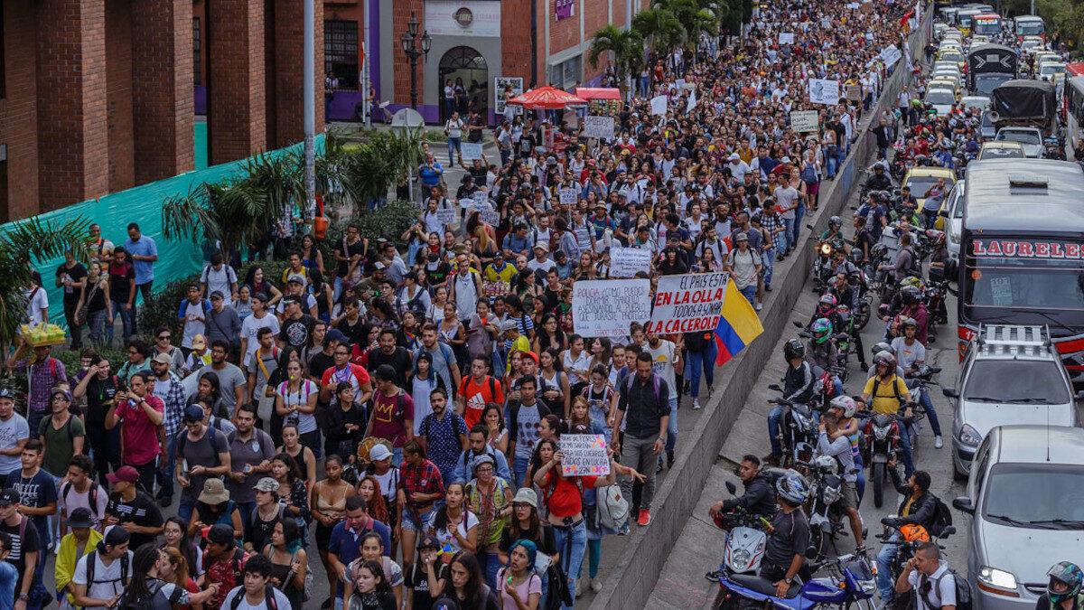 Απεργιακή διαδήλωση στη Μπογκοτά, Κολομβία