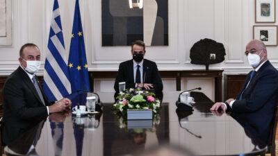 Συνάντηση του πρωθυπουργού Κυριάκου Μητσοτάκη με τον υπουργό Εξωτερικών της Τουρκίας Μεβλούτ Τσαβούσογλου, την Δευτέρα 31 Μαΐου 2021.