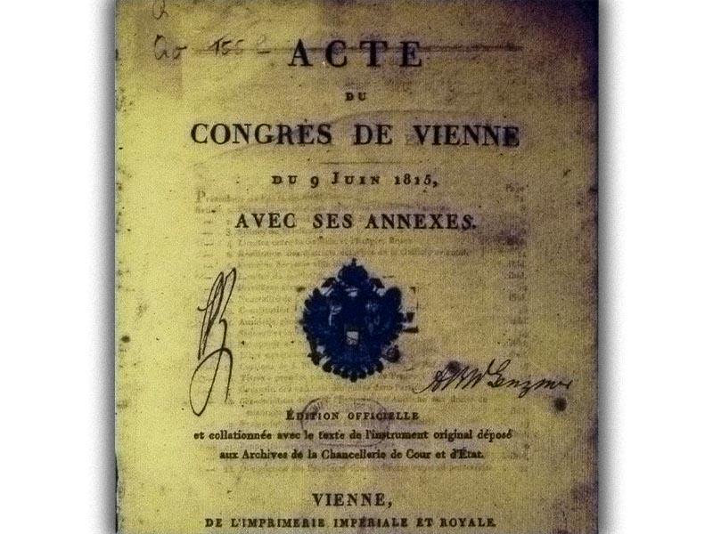 Ευρώπη - διαμοιρασμός - Συνέδριο της Βιέννης, 1815