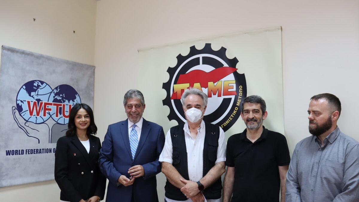 συνάντηση του ΠΑΜΕ με τον πρέσβη της Παλαιστίνης