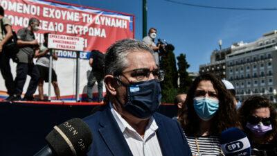 Ο Δ. Κουτσούμπας στην Απεργιακή συγκέντρωση του ΠΑΜΕ ενάντια στο νομοσχέδιο για τα εργασιακά, την Τετάρτη 16 Ιουνίου 2021.