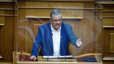 Ο ΓΓ της ΚΕ του ΚΚΕ, Δ. Κουτσούμπας στο βήμα της Βουλής