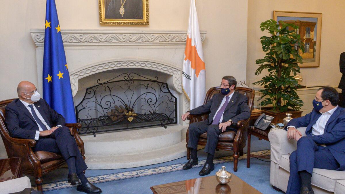 Από τη συνάντηση του Έλληνα Υπ. Εξ, Ν. Δένδια με τον Πρόεδρο της Κυπριακής Δημοκρατίας, Ν. Αναστασιάδη