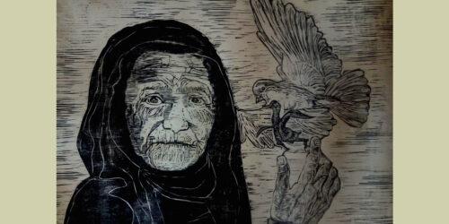 «Η γιαγιά της Παλαιστίνης», 2021, Βασίλης Βλάχος, ξυλογραφία σε πλάγιο ξύλο, διαστάσεις έργου: 93 x 61 (εκατοστά)