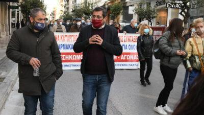 Ο Δήμαρχος Πατρέων, Κώστας Πελετίδης σε κινητοποίηση του Εργατικού Κέντρου Πάτρας