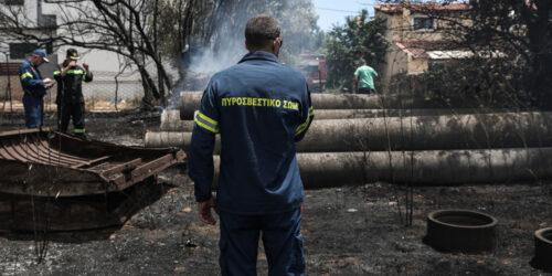 Πυρκαγιά σε ξερά χόρτα και πυκνή βλάστηση στην οδό Καλυφτάκη στην Κηφισιά, Παρασκευή 2 Ιουλίου 2021. Άμεσα έσπευσαν στον τόπο της πυρκαγιάς 13 πυροσβέστες με 6 οχήματα καθώς και εθελοντές πυροσβέστες, ενώ έκανε ρίψη από αέρος ένα ελικόπτερο.