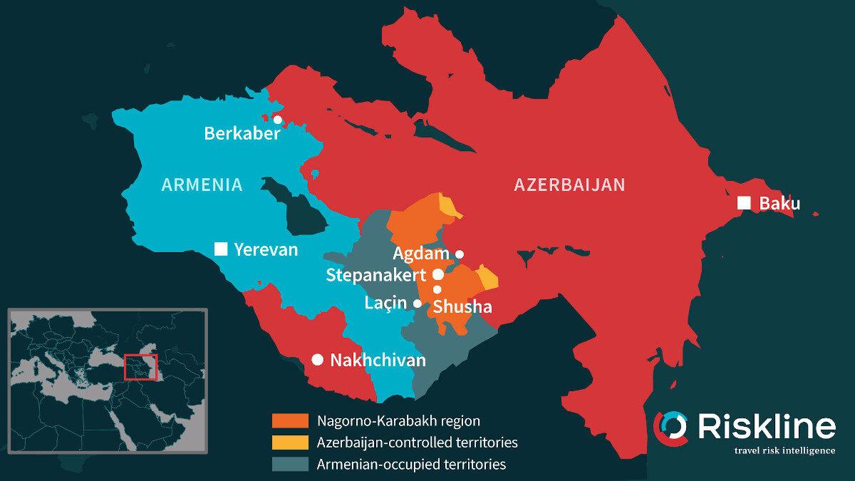 Χάρτης της περιοχής του νότιου Καύκασου, με τις διαφιλονικούμενες περιοχές και την αναχάραξης των συνόρων μεταξύ Αζερμπαϊτζάν και Αρμενίας