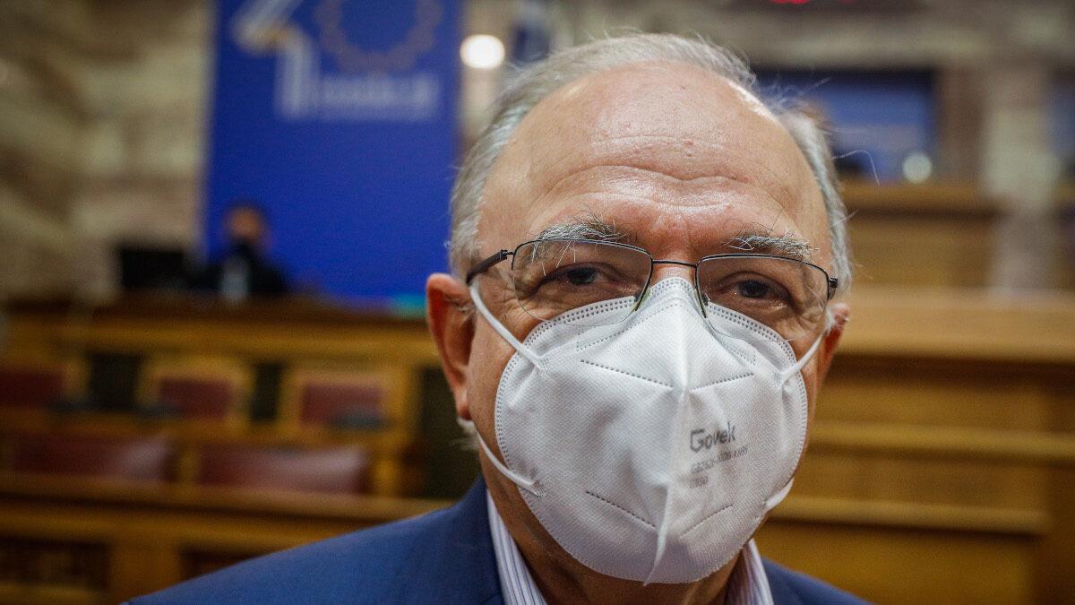 Ο Δημήτρης Παπαδημούλης, επικεφαλής της ευρωομάδας του ΣΥΡΙΖΑ και αντιπρόεδρος του Ευρωπαϊκού Κοινοβουλίου σε εκδήλωση στη Βουλή για τα 40 χρόνια της Ευρωπαϊκής Ένωσης - Φλεβάρης 2021