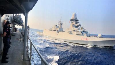 Η Ιταλική Φρεγάτα ITS VIRGINIO FASAN σε συνεκπαίδευση με πλοία του Πολεμικού Ναυτικού στα Νοτιοανατολικά της Κρήτης - 27/7/2021