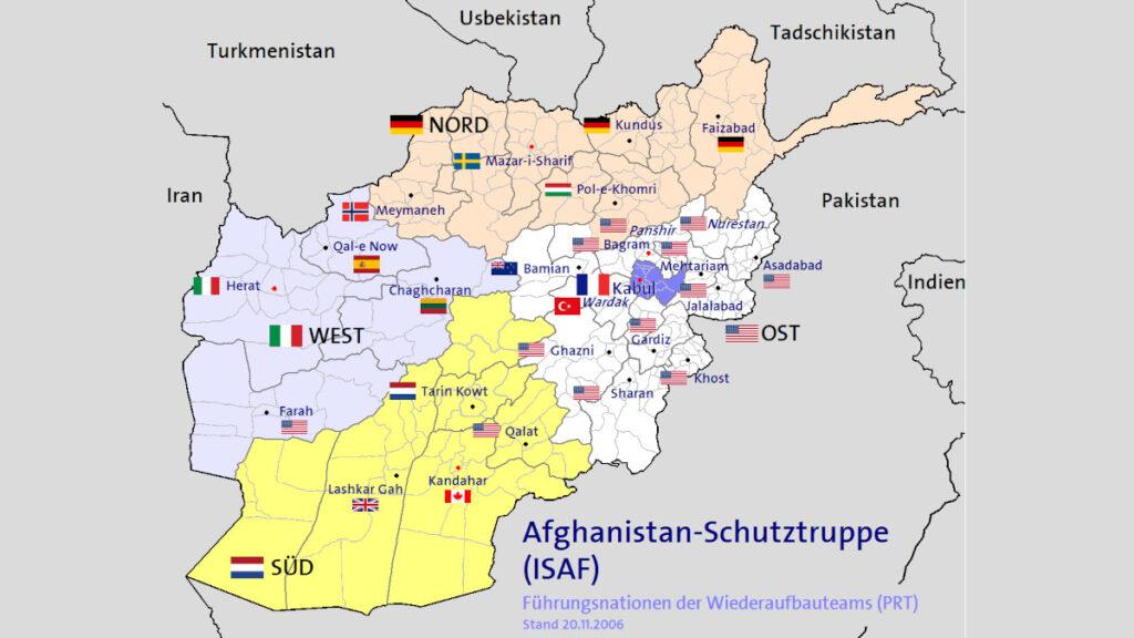 Χάρτης που απεικονίζει τη ευθύνη των στρατευμάτων του ΝΑΤΟ στο Αφγανιστάν (ISAF) το 2006
