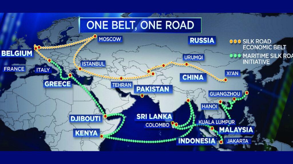 Χάρτης που απεικονίζει τα επενδυτικά σχέδια της Κίνας για τους «εμπορικούς δρόμους» - OBOR («Μία Ζώνη - Ένας Δρόμος»)