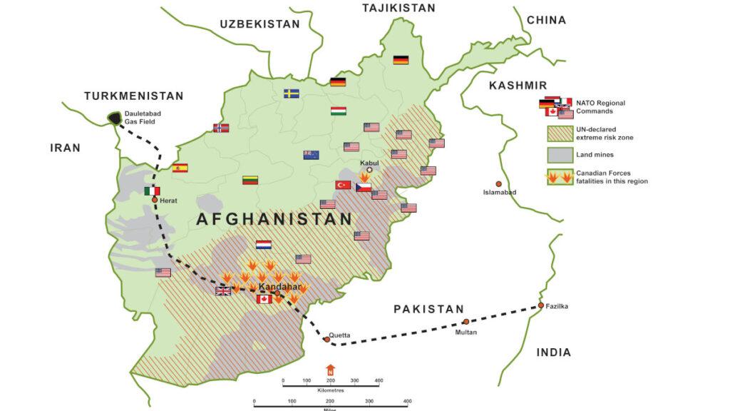 Αφγανιστάν - Χάρτης που απεικονίζει τον Αγωγό Φυσικού Αερίου TAPI (Τουρκμενιστάν, Αφγανιστάν, Πακιστάν, Ινδία), τις περιοχές πλούσιες σε ορυκτά και τις περιοχές που ελέγχαν στρατεύματα του ΝΑΤΟ ως το 2021