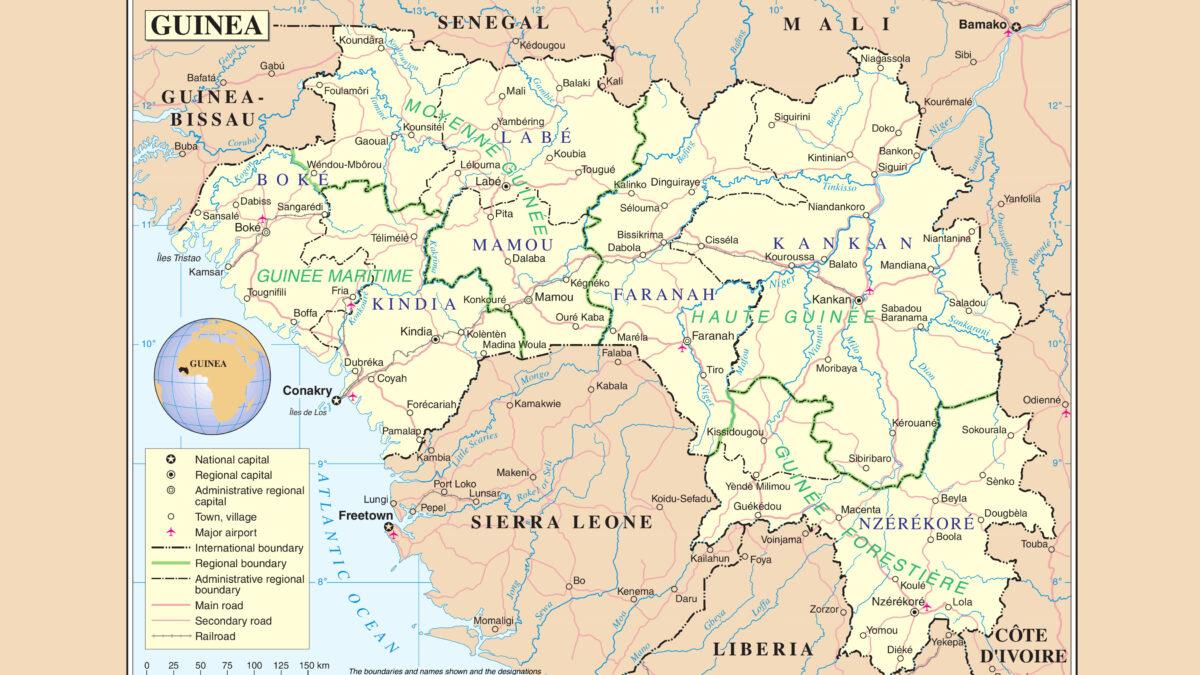 Χάρτης Γουινέας - Δυτική Αφρική