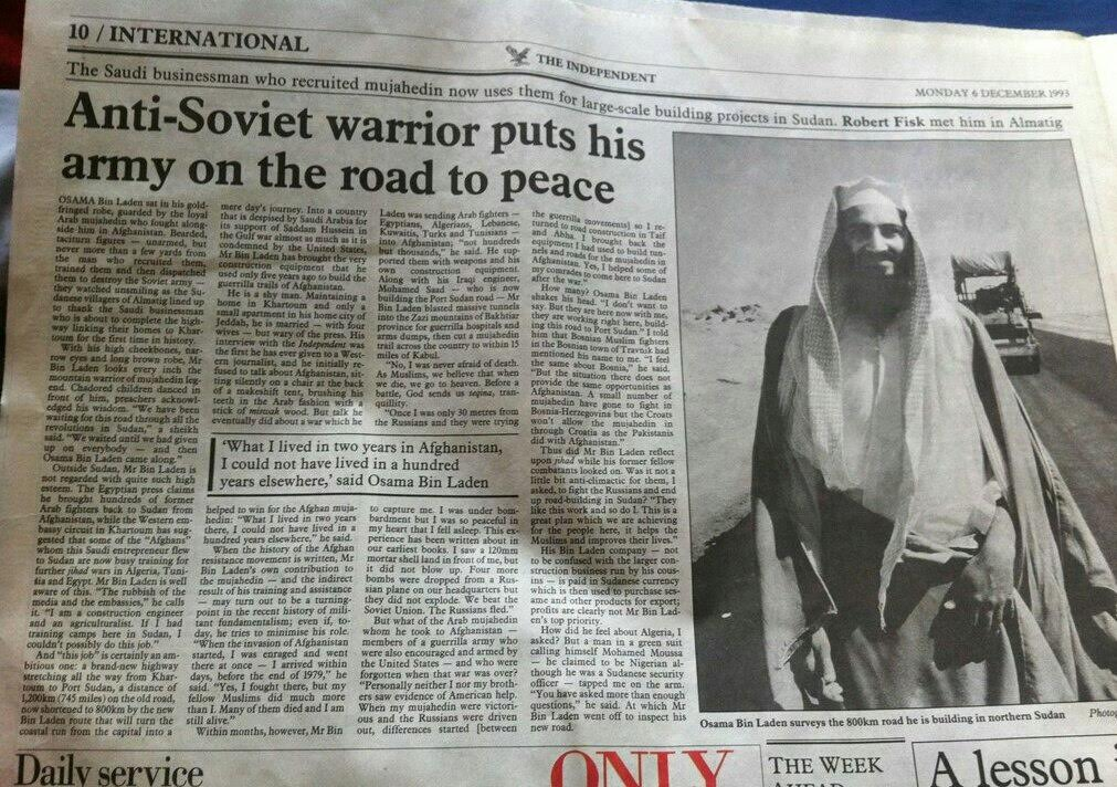 Αφιέρωμα της Εφημερίδας Independent στους «Μαχητές της Ελευθερίας» με φωτογραφία του Μπιν Λάντεν
