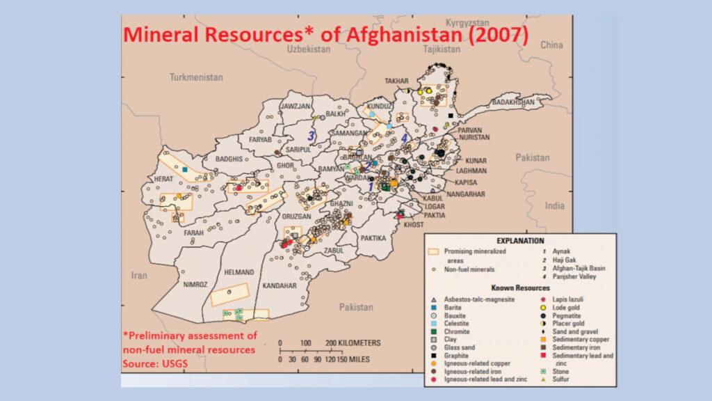 Χάρτης του USGS (United States Geological Survey) που απεικονίζει τον ορυκτό πλούτο του Αφγανιστάν του 2007