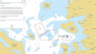 Χάρτης της Υπηρεσίας NAVTEX της Τουρκίας που αναφέρει τις περιοχές που διεξάγει ασκήσεις κλπ.