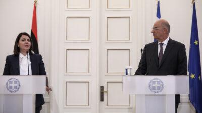 Συνάντηση του υπουργού Εξωτερικών, Νίκου Δένδια με την Λίβυα ομόλογό του, Najla El Mangoush, την Δευτέρα, 6 Σεπτεμβρίου 2021.