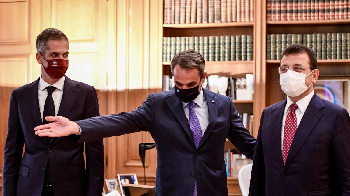 Συνάντηση του πρωθυπουργού Κυριάκου Μητσοτάκη στο Μέγαρο Μαξίμου, με τον δήμαρχο Αθηναίων Κώστα Μπακογιάννη και τον δήμαρχο Κωνσταντινούπολης, Ekrem Imamoglou. Τρίτη 21 Σεπτεμβρίου 2021
