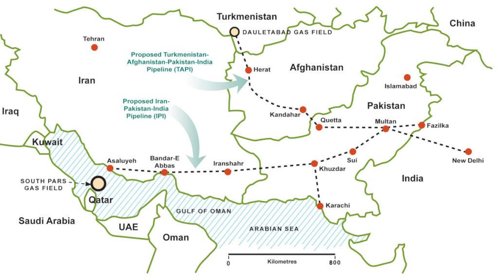 Χάρτης που απεικονίζει τους Αγωγούς Φυσικού Αερίου TAPI (Τουρκμενιστάν, Αφγανιστάν, Πακιστάν, Ινδία) και IPI (Ιράν, Πακιστάν, Ινδία)