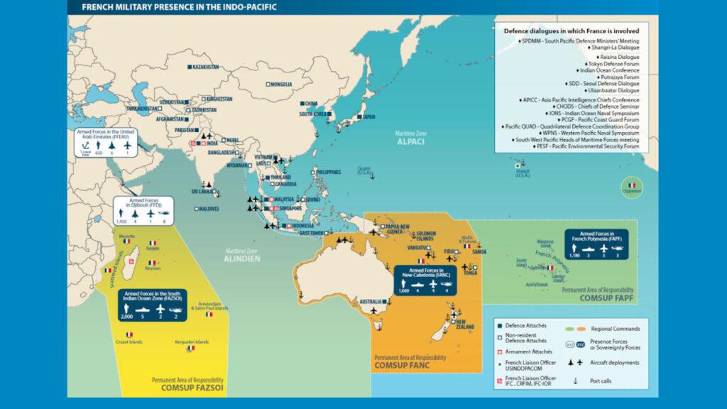 Χάρτης που απεικονίζει τις περιοχές ευθύνης των διοικήσεων των Γαλλικών Ενόπλων Δυνάμεων σε Ινδικό και Ειρηνικό Ωκεανό