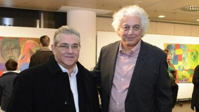 Ο ποιητής και ζωγράφος Γιώργος Κακουλίδης με τον ΓΓ της ΚΕ του ΚΚΕ, Δημήτρη Κουτσούμπα