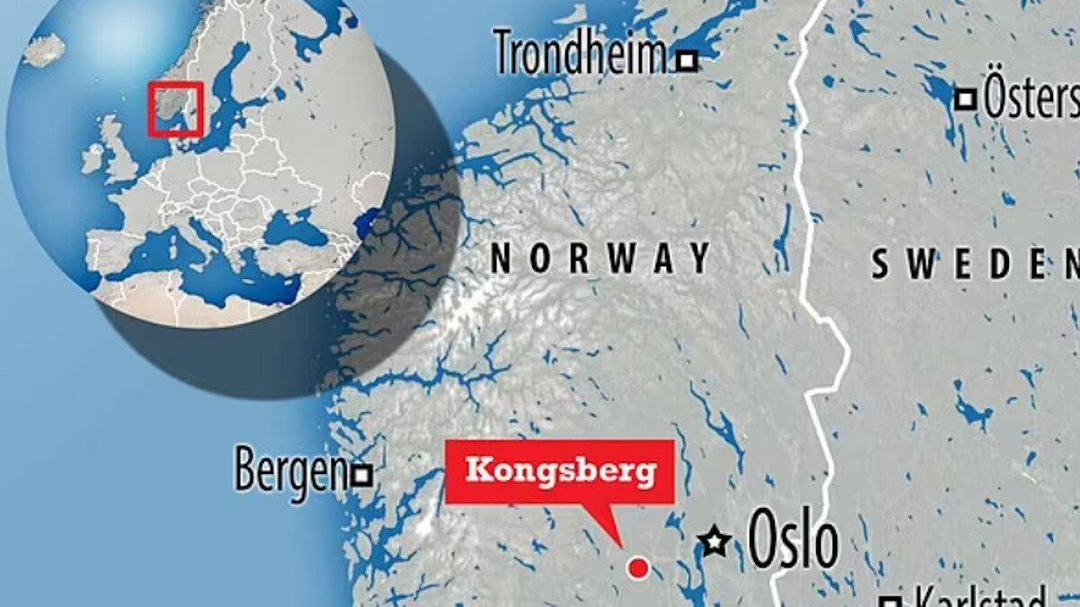 Χάρτης του Κονγκσμπέργ της Νορβηγίας όπου έγινε η δολοφονική επίθεση με τόξο 13/10/21