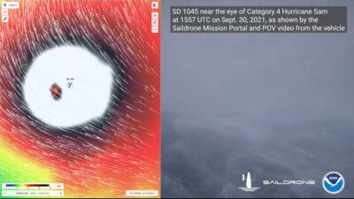 Στιγμιότυπο απο βίντεο της Εθνικής Υπηρεσίας Ωκεανών και Ατμόσφαιρας (NOAA) των ΗΠΑ μέσα από τον τυφώνα Σαμ, τραβηγμένο από ιστιοπλοϊκό drone