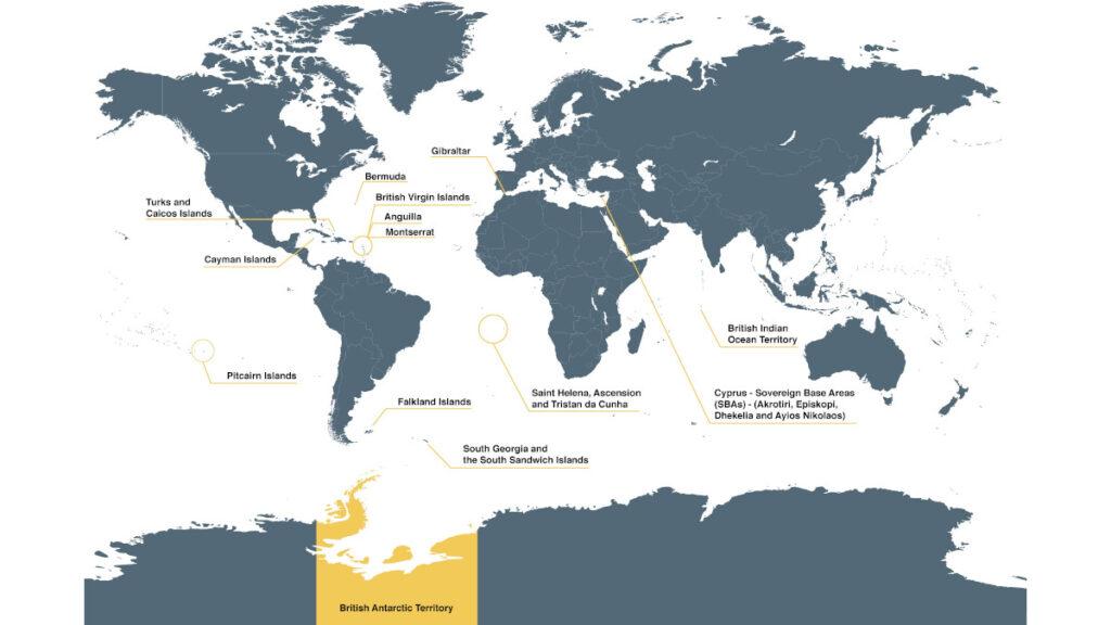 Παγκόσμιος χάρτης που απεικονίζει τις βρετανικές κτήσεις ανά τον κόσμο που είναι «κατοχυρωμένες» ως βρετανικό έδαφος.